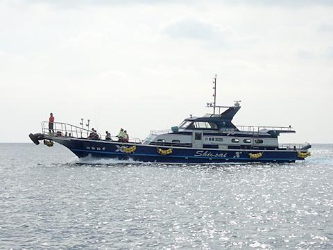 定員30名の大型船でグレの宝庫、相ノ島、有川周辺を案内。