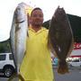萩市見島沖で72cmのヒラマサと59cmのヒラメ